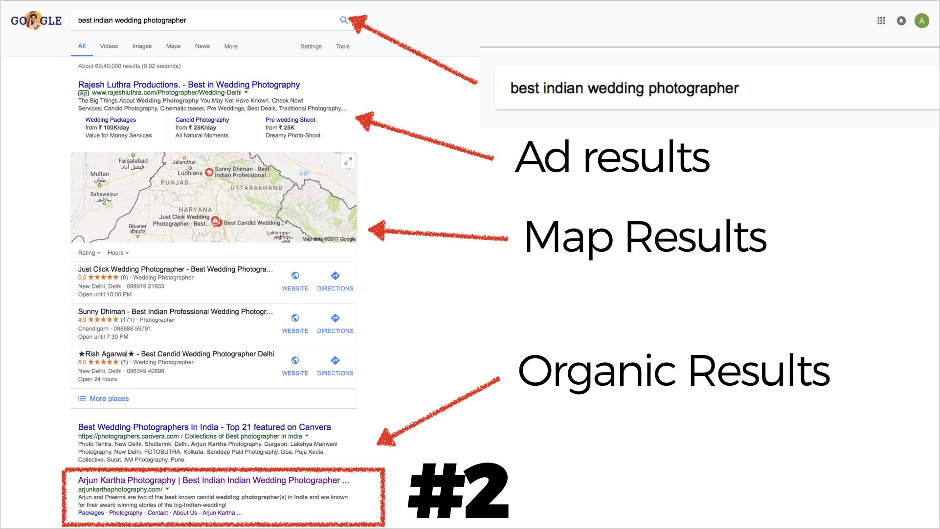 Screenshot of SEO results
