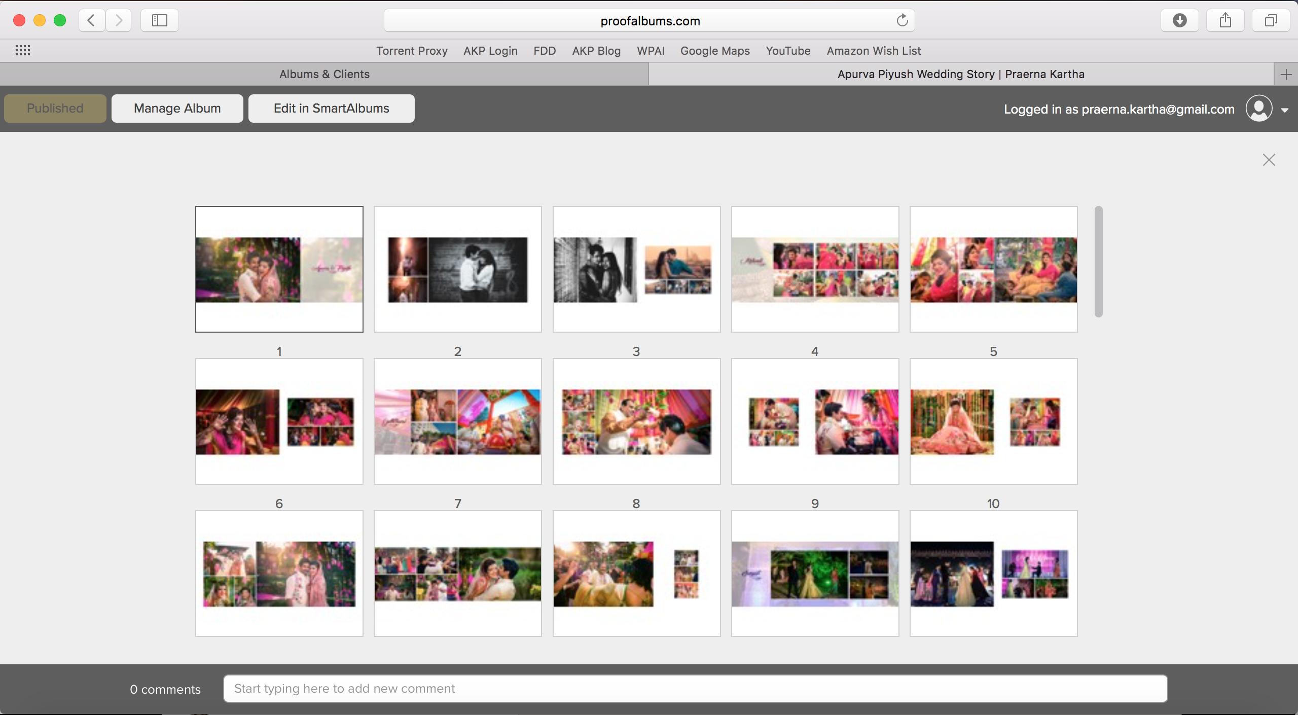 A screenshot of one of our albums on SmartAlbums.