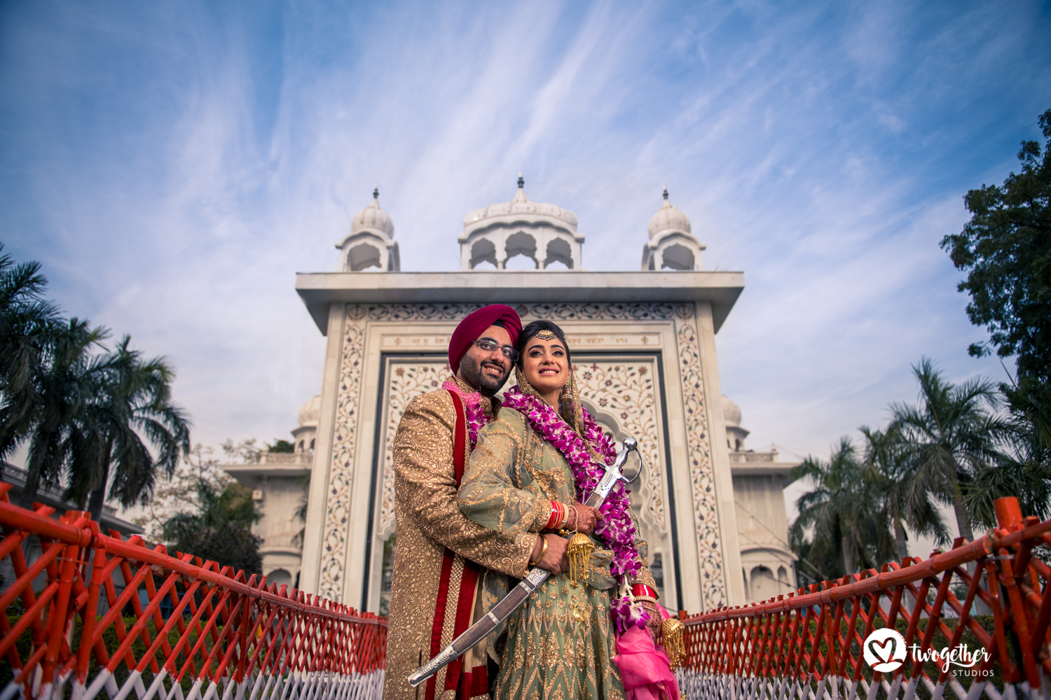 Sikh couple portrait wedding photography