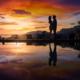 Krabi pre-wedding sunset reflection couple shoot silhouette photography