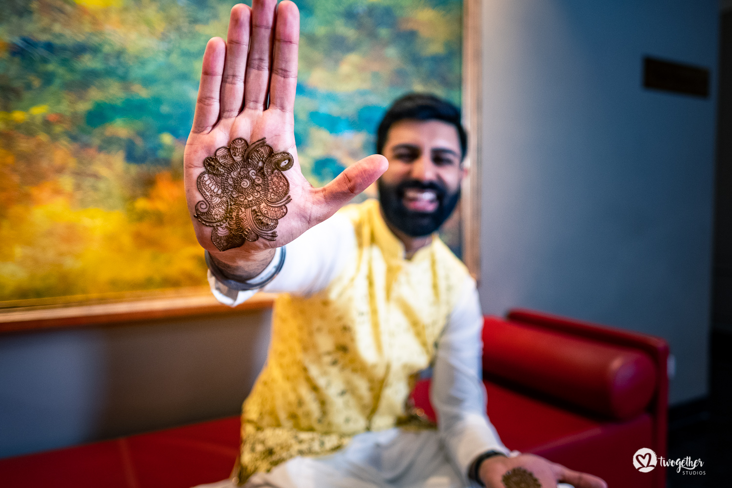 Indian groom mehendi at a Delhi wedding.