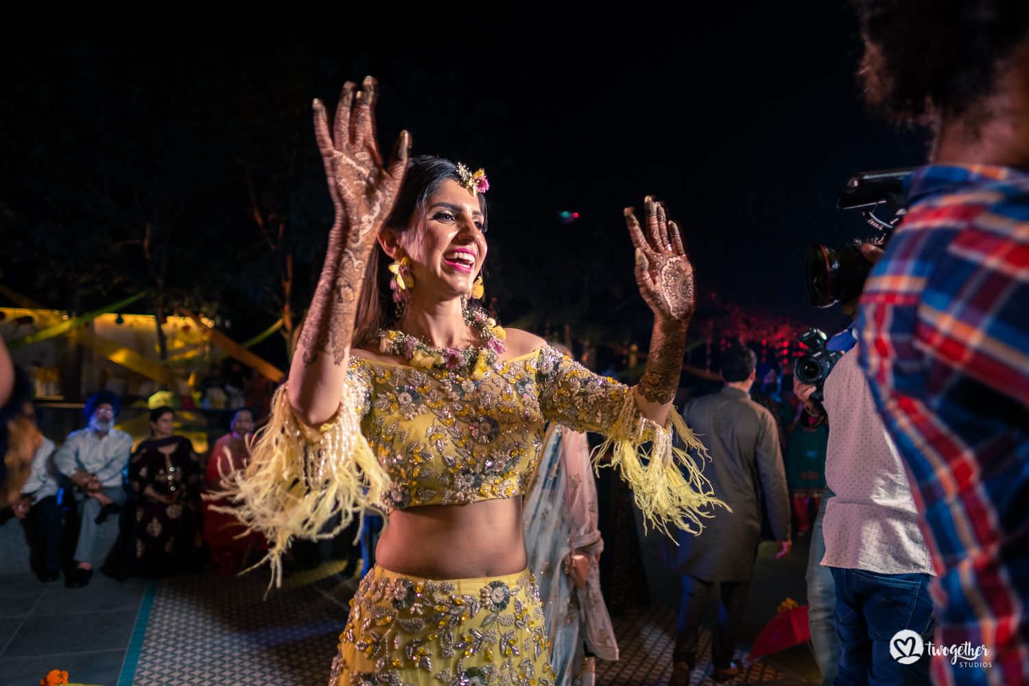 Indian bride dancing at a Delhi wedding.