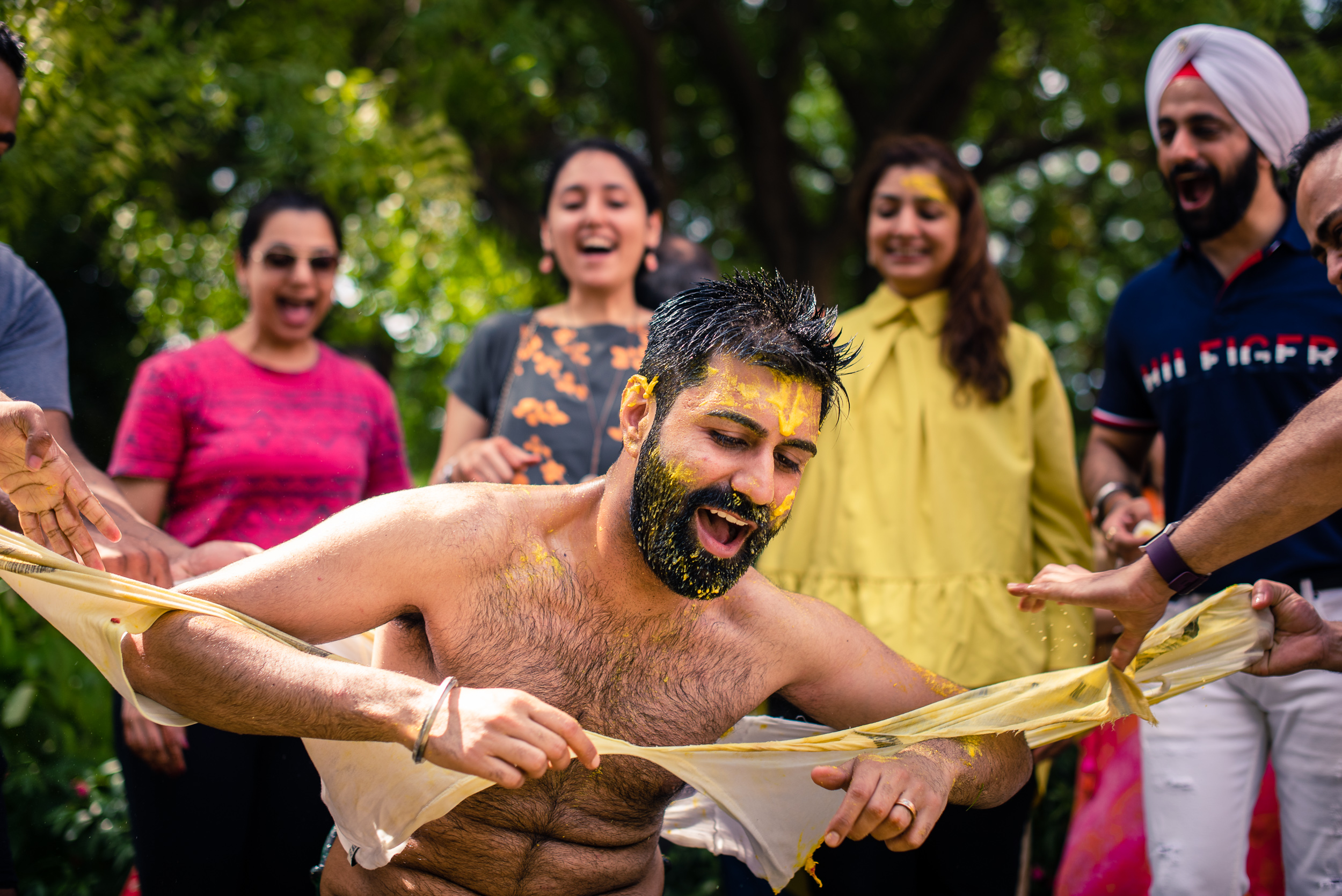 Indian groom haldi ceremony at a Delhi wedding.