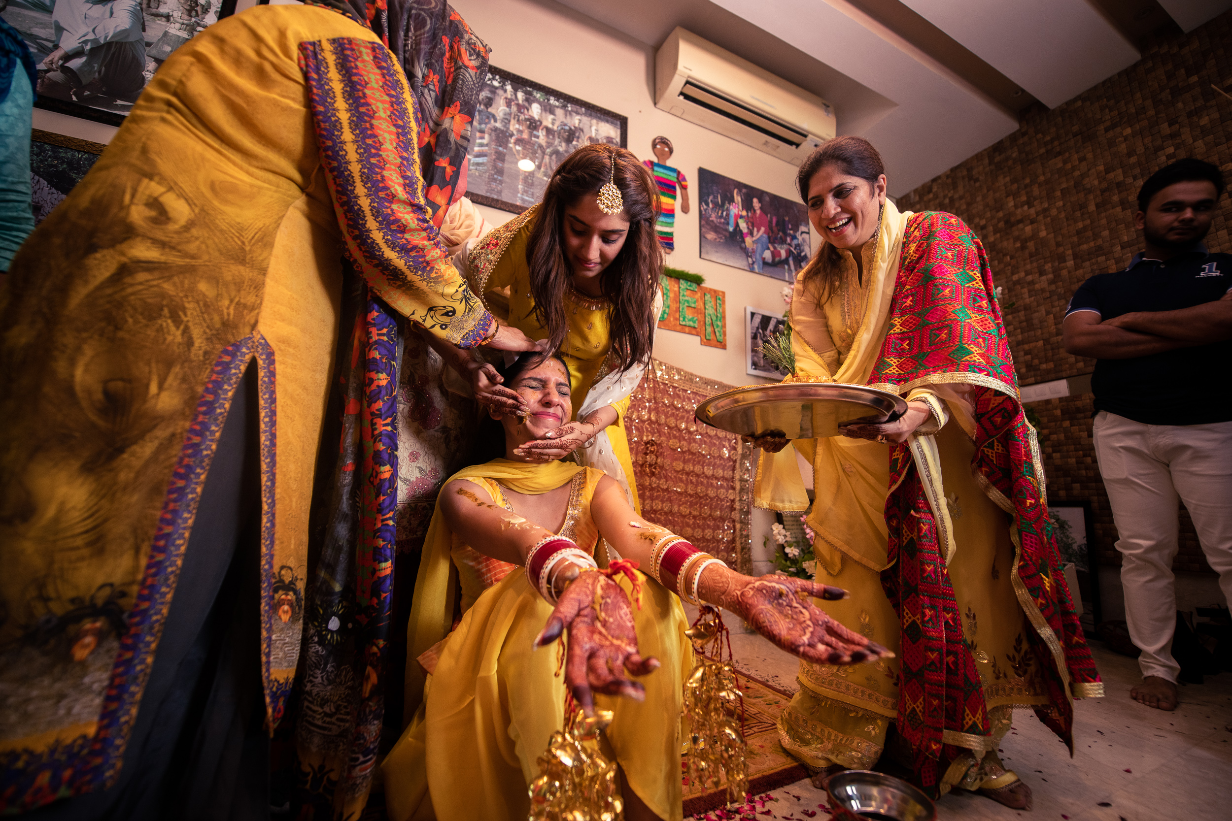 Indian bride haldi ceremony at a Delhi wedding.