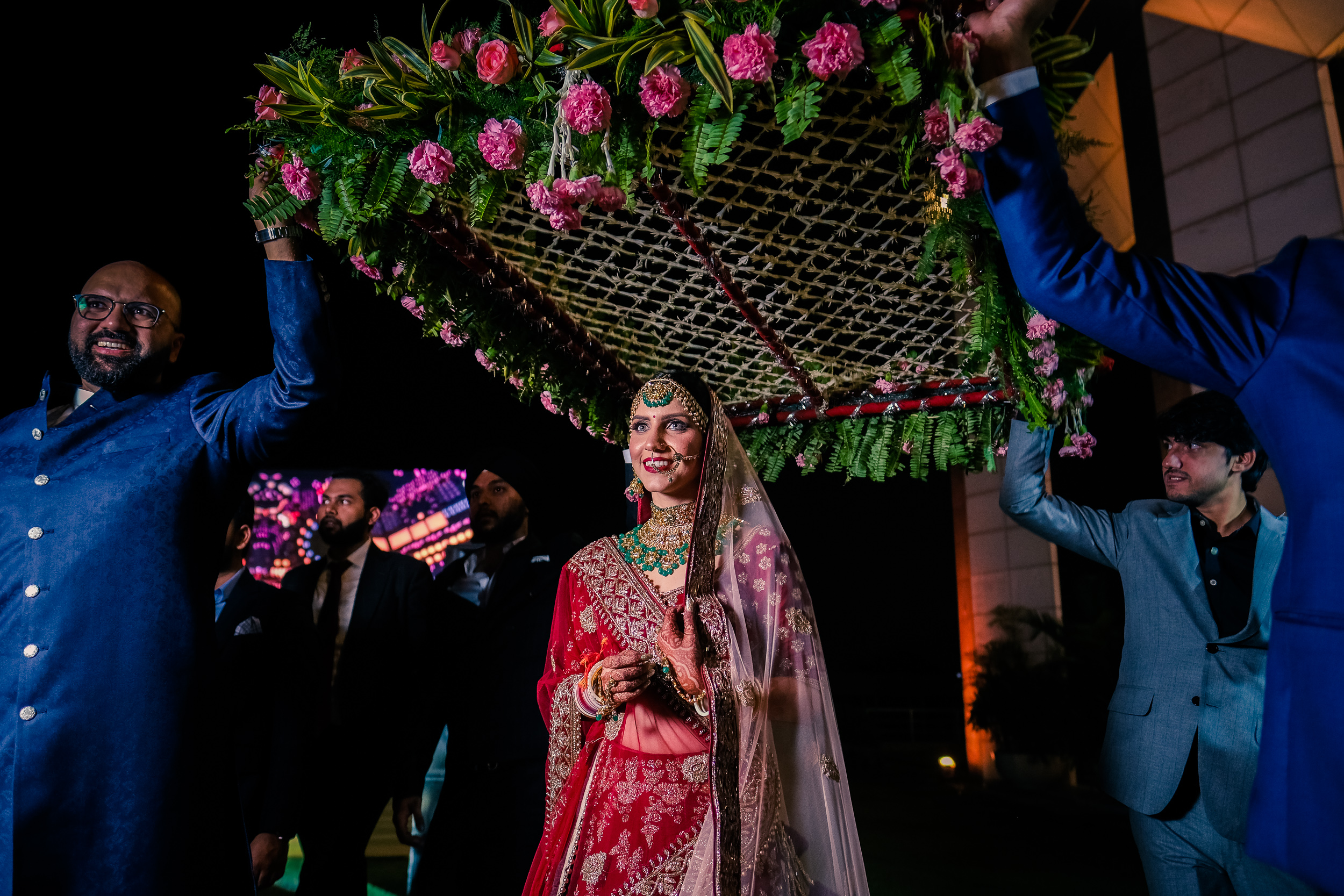 Indian bridal entry at a Delhi wedding.