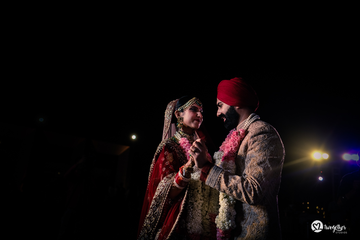Indian couple dance at a Delhi wedding.