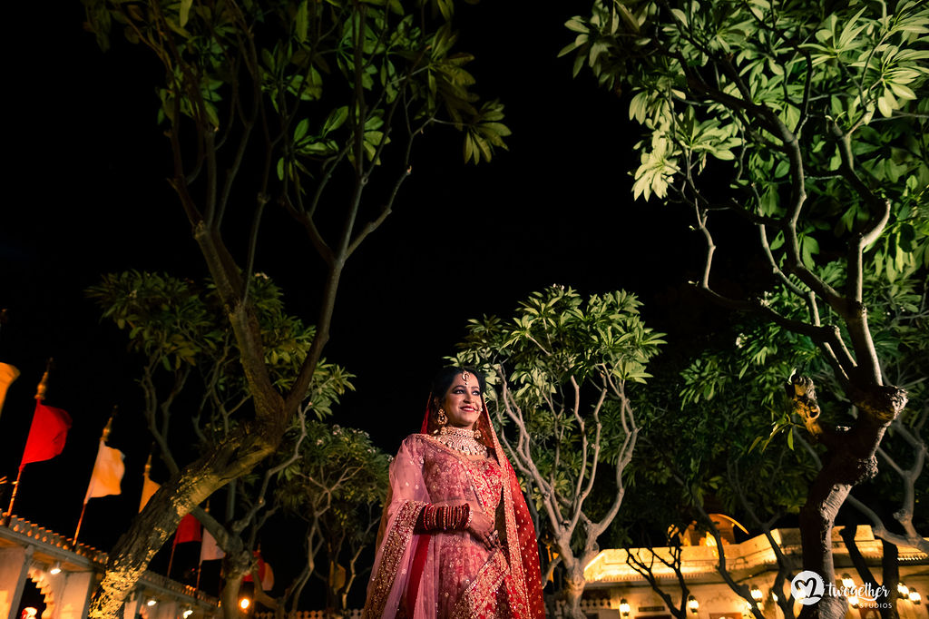 Indian bridal photo at Udaipur destination wedding