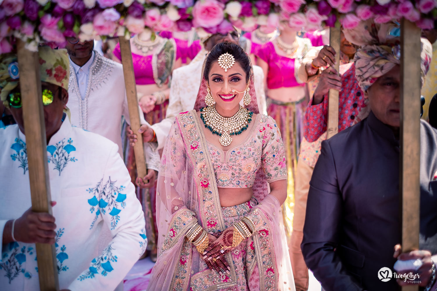 Indian bridal entry wearing a Sabyasachi lehenga at Kenya destination wedding