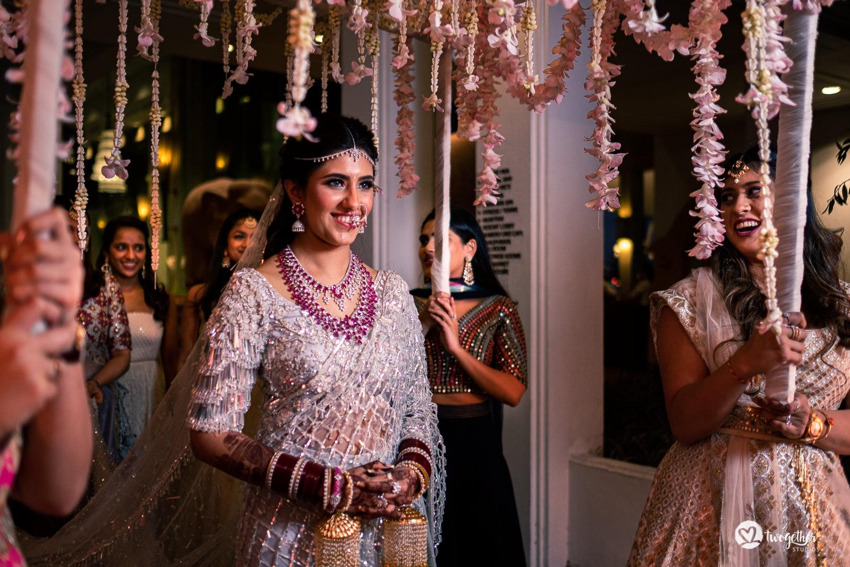 Indian bridal entry at Bangkok destination wedding.