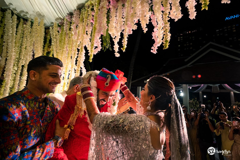 Jaimala at Bangkok destination wedding.