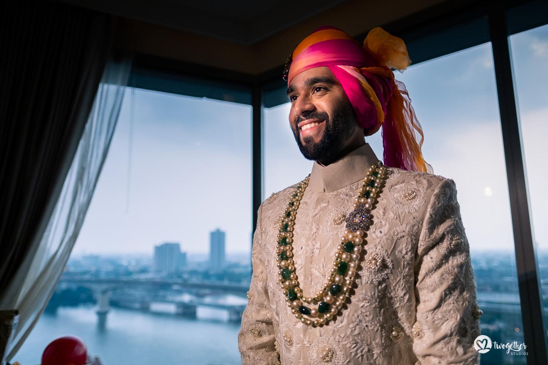 Indian groom ready for his baraat at Bangkok destination wedding.