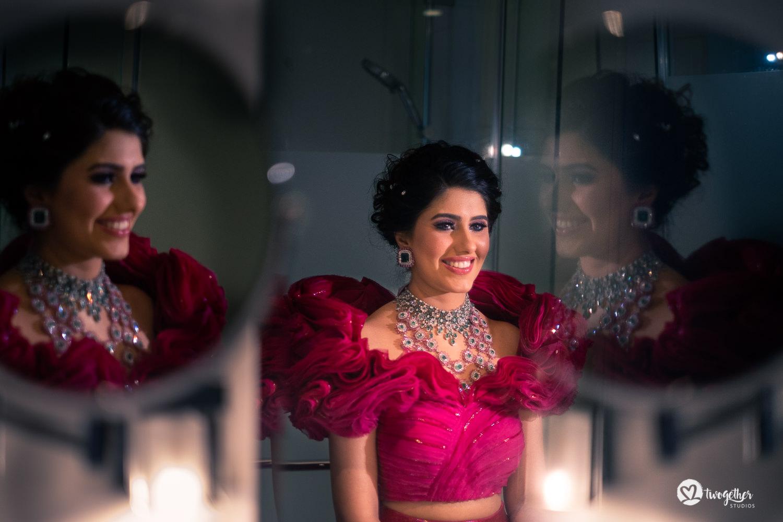 Indian bride in Gaurav Gupta couture at Bangkok destination wedding.