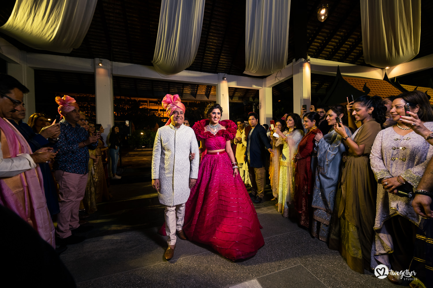 Indian bridal entry with father in Bangkok destination wedding