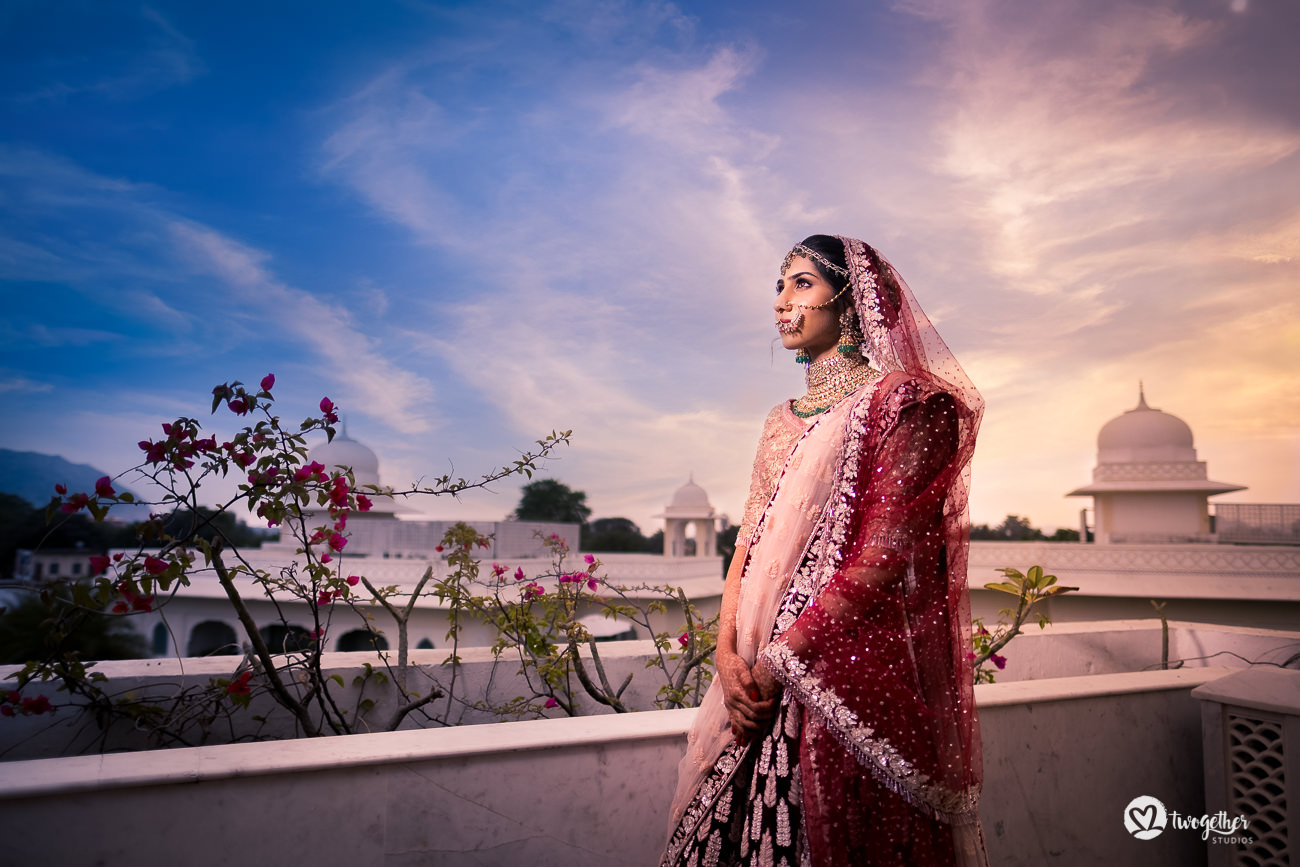 Indian bridal portrait in Jaipur destination wedding.