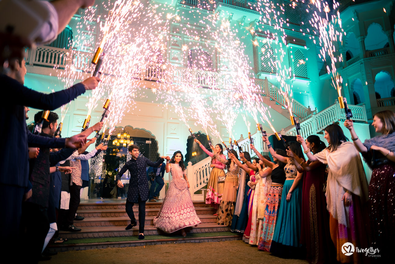 Couple entry to their sangeet in a Jaipur destination wedding