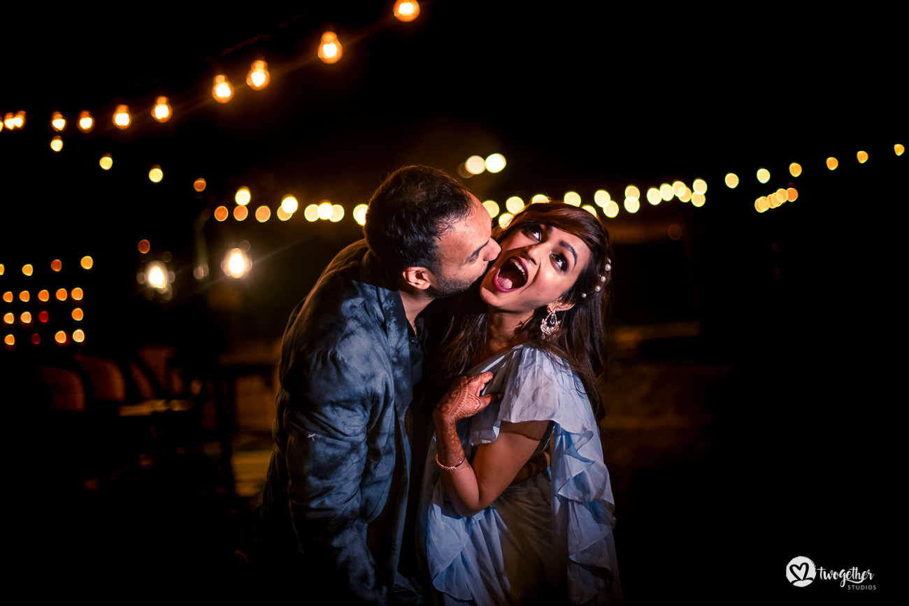 Fun couple portrait in a Delhi wedding