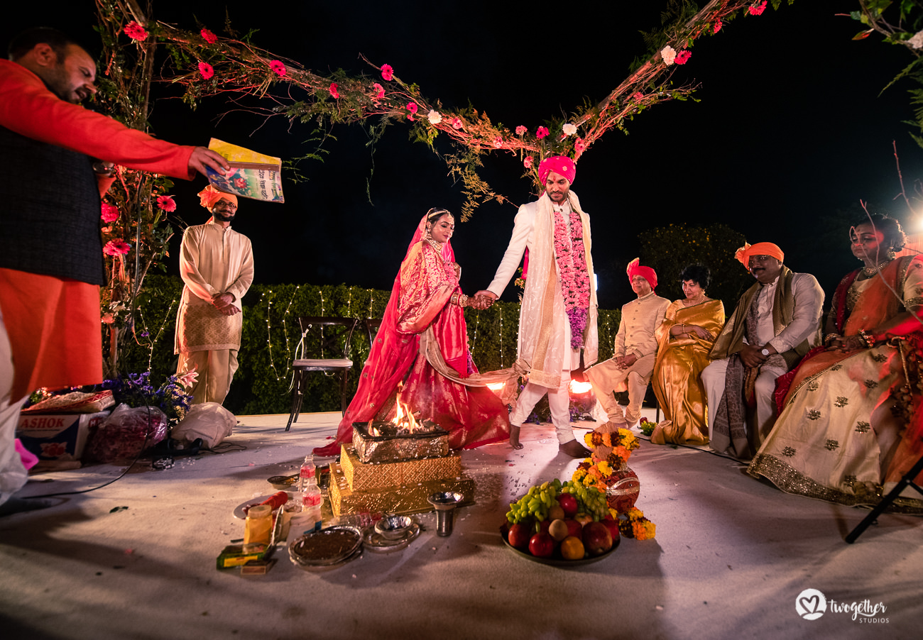 Indian wedding couple pheras