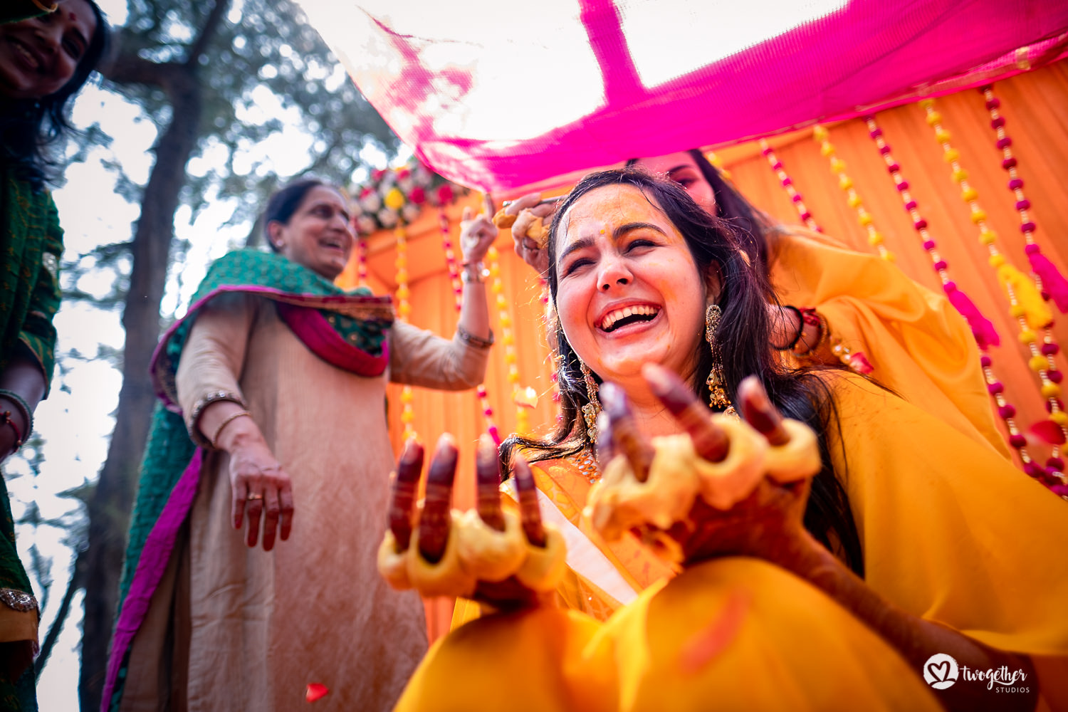 Happy bride haldi Goa wedding