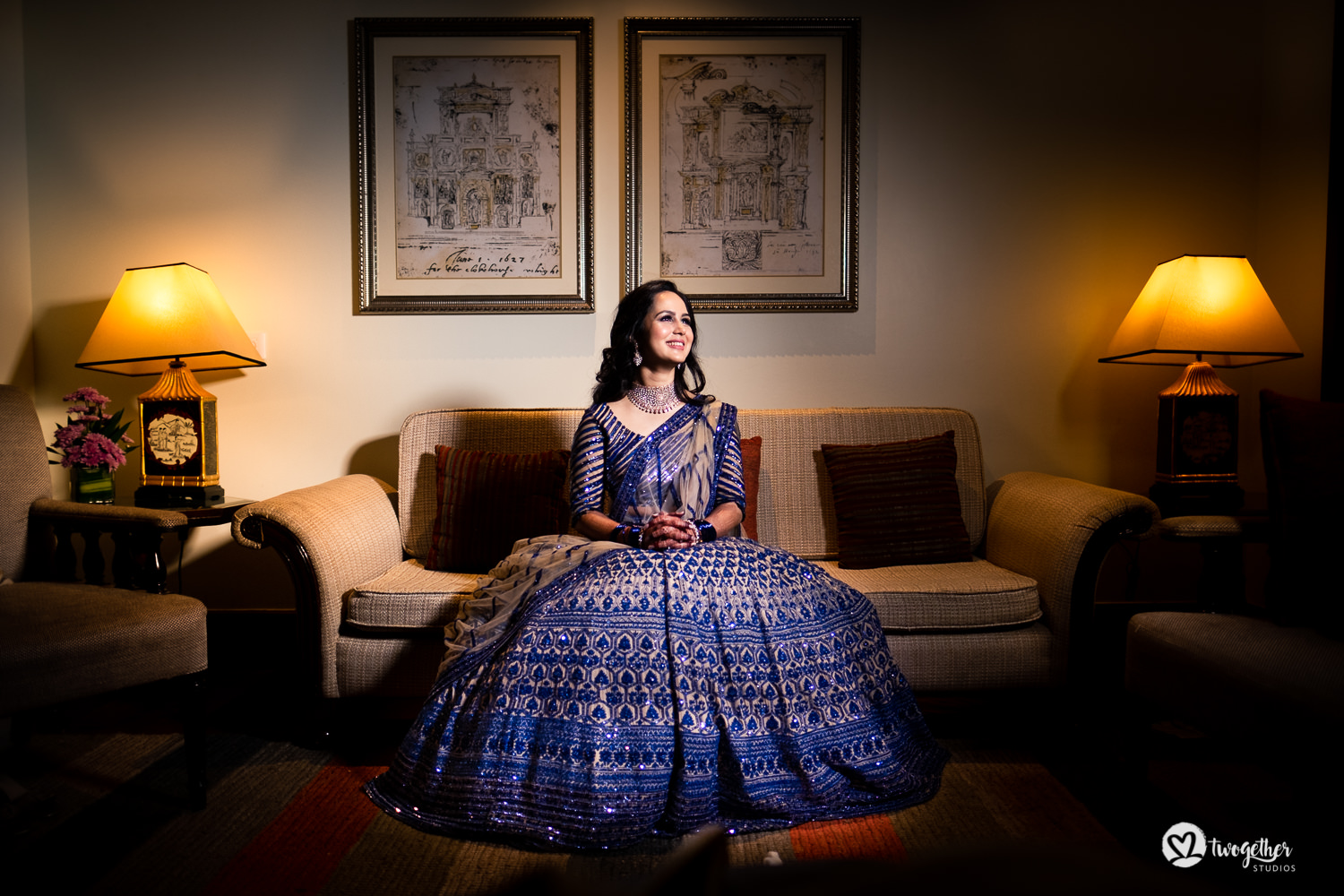 Bride in Manish Malhotra sangeet outfit for her wedding celebration