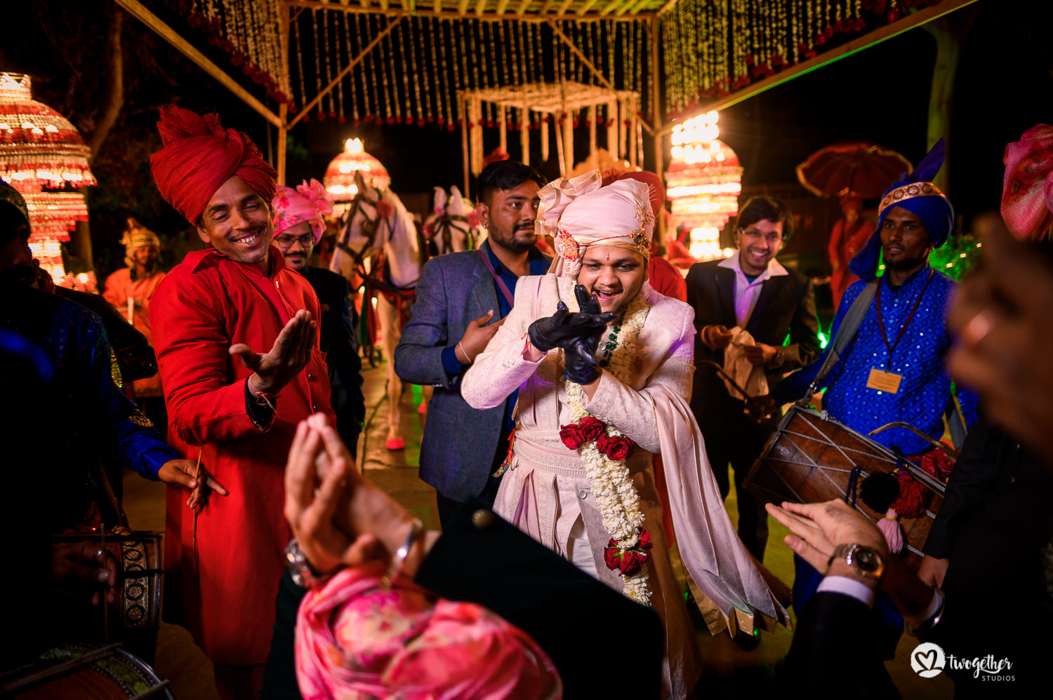 Groom dances in his baraat at a Jaipur destination wedding.