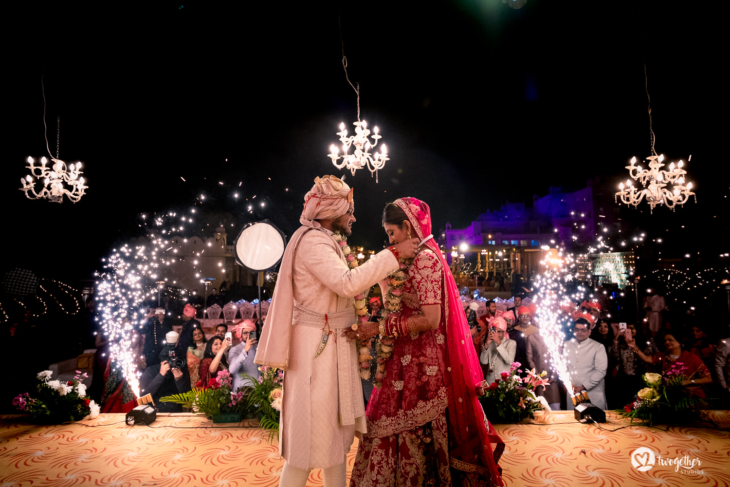 Jaimala ceremony at a Jaipur destination wedding.