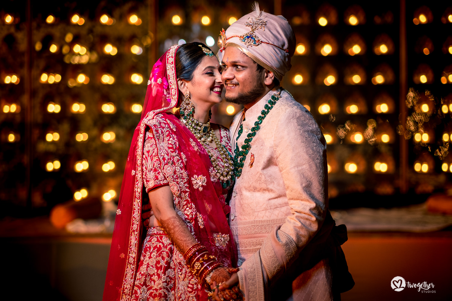 Indian couple wedding portrait at a Jaipur destination wedding.