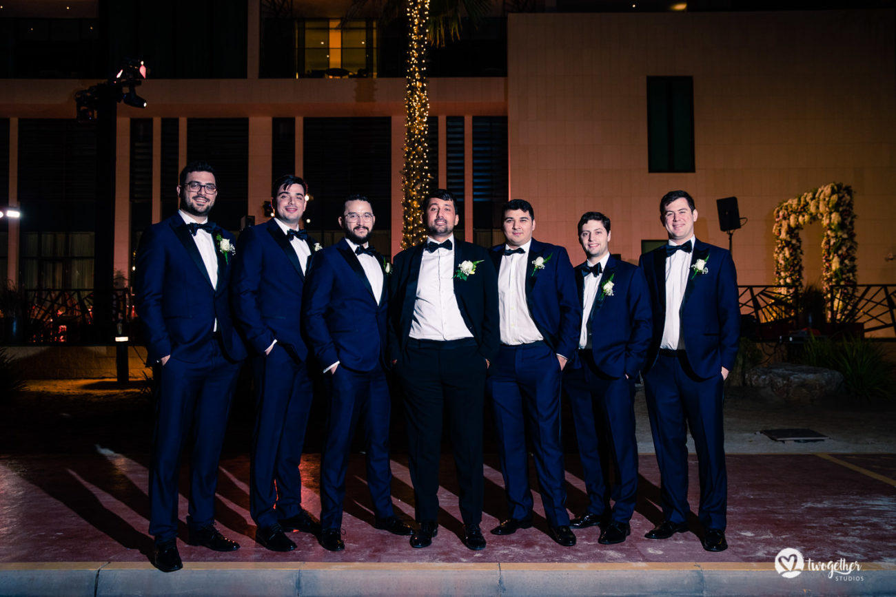Groomsmen at Dubai destination wedding.