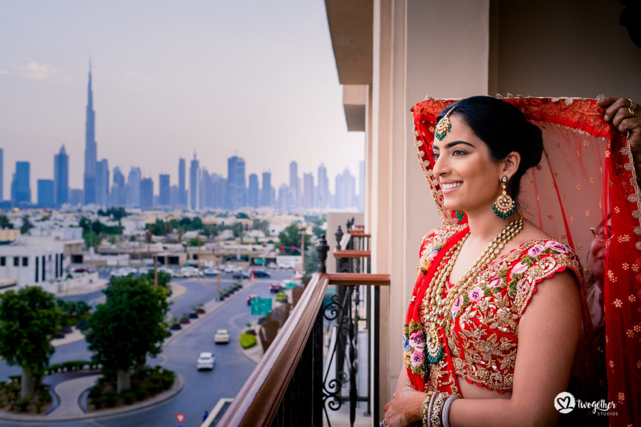 Indian bride at a Dubai destination wedding.