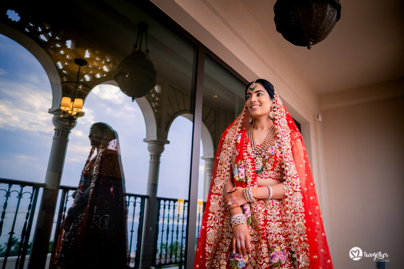 Indian bridal portrait at a Dubai destination wedding.