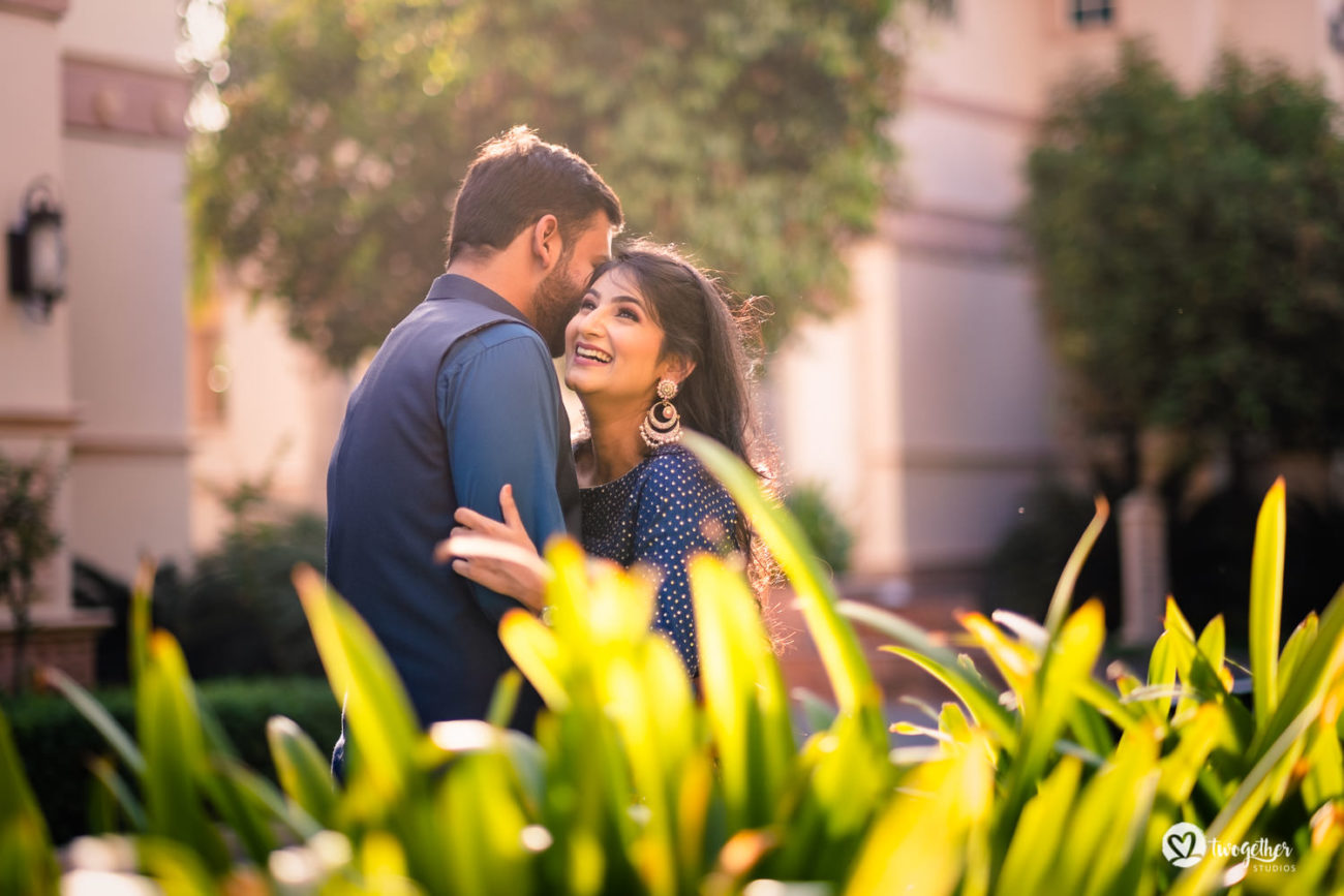 Pre-wedding couple shoot in an ITC Grand Bharat wedding.