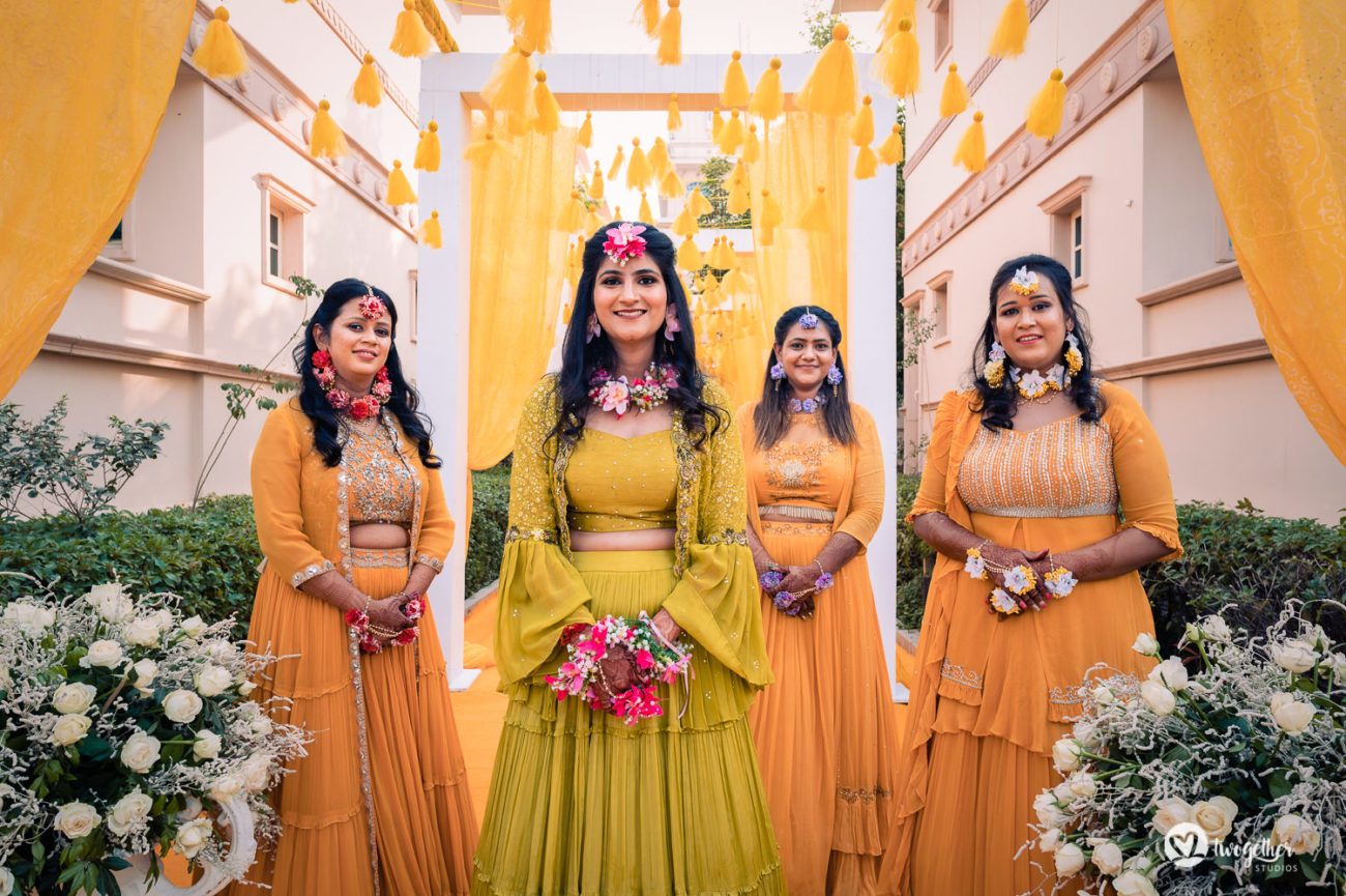 Bride tribe in an ITC Grand Bharat wedding.