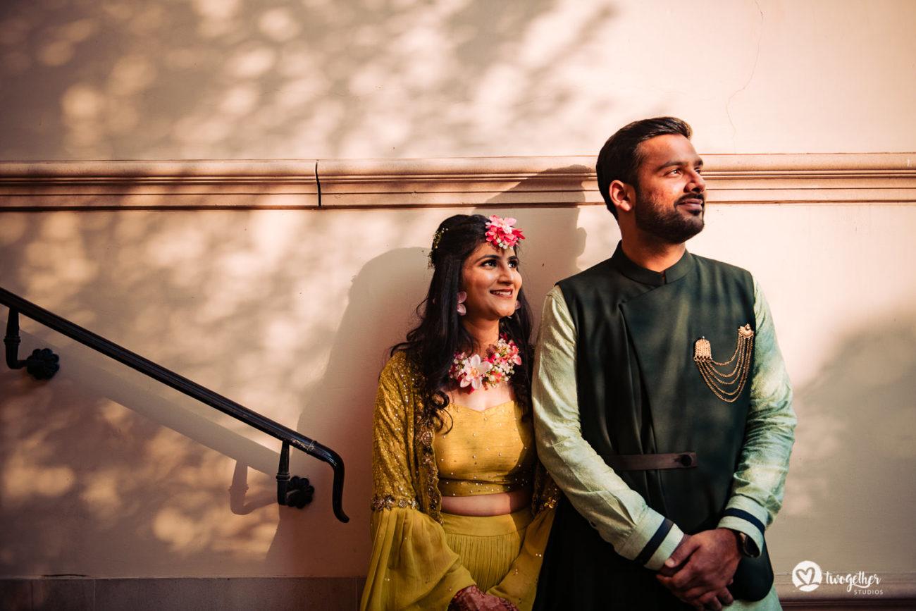 Couple sunset portrait on their mehendi in an ITC Grand Bharat wedding.