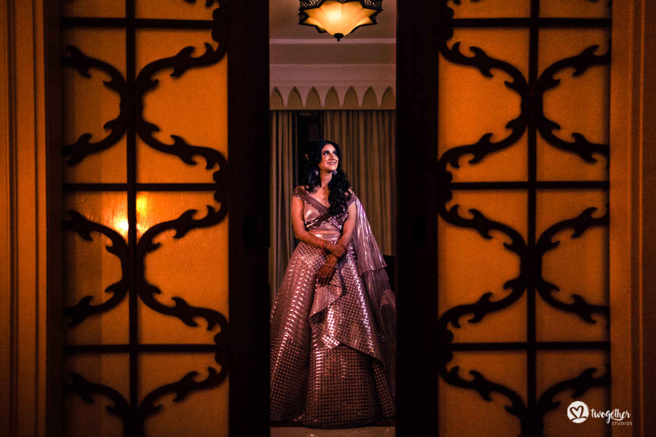 Bridal sangeet outfit in an ITC Grand Bharat wedding.