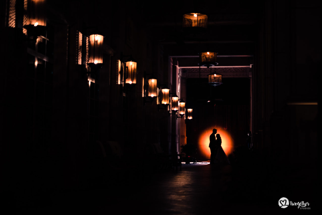 Silhouette couple portrait in an ITC Grand Bharat wedding