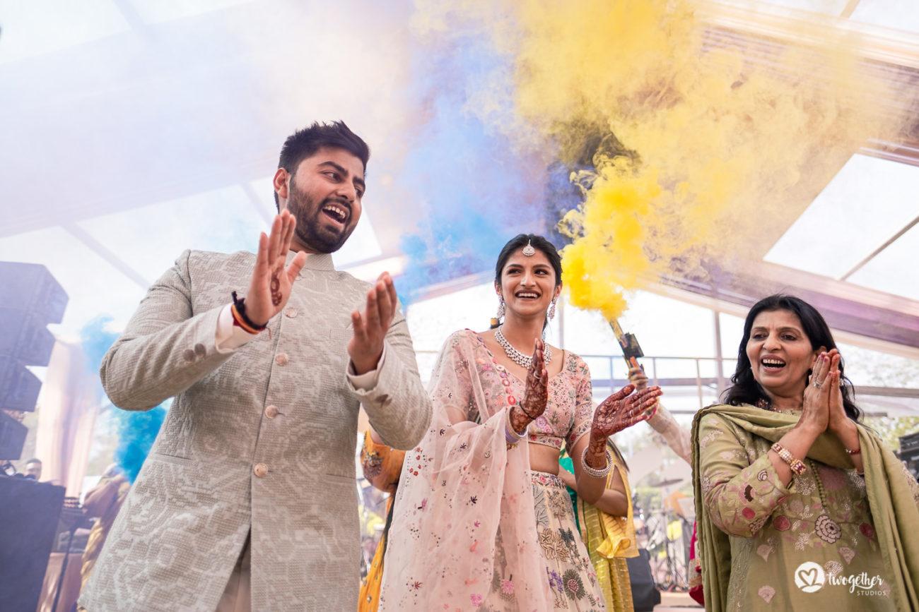 ITC Maurya wedding couple entry to Mehendi event.