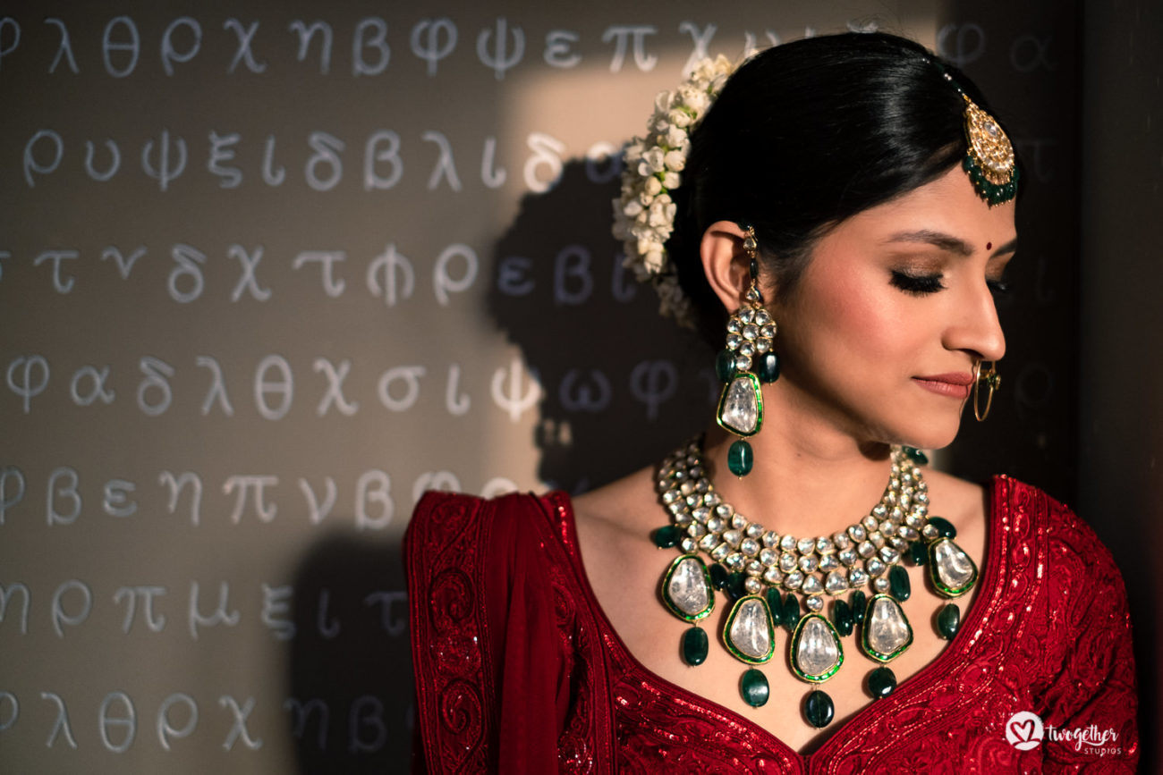 Bridal portrait at an ITC Maurya wedding.
