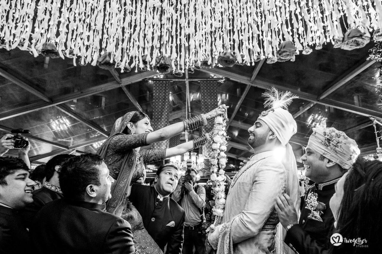 Jaimala ceremony at an ITC Maurya wedding.