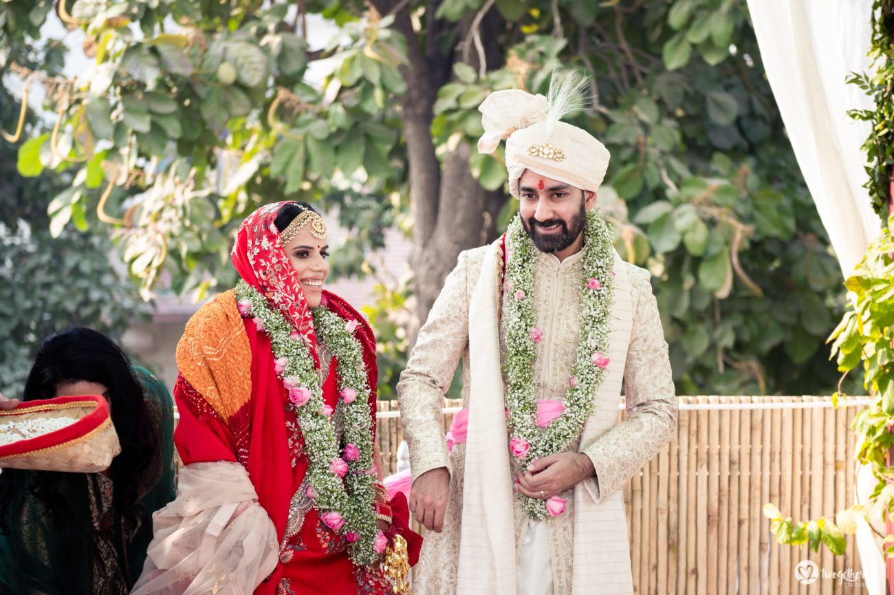 Couple take pheras in an intimate wedding.