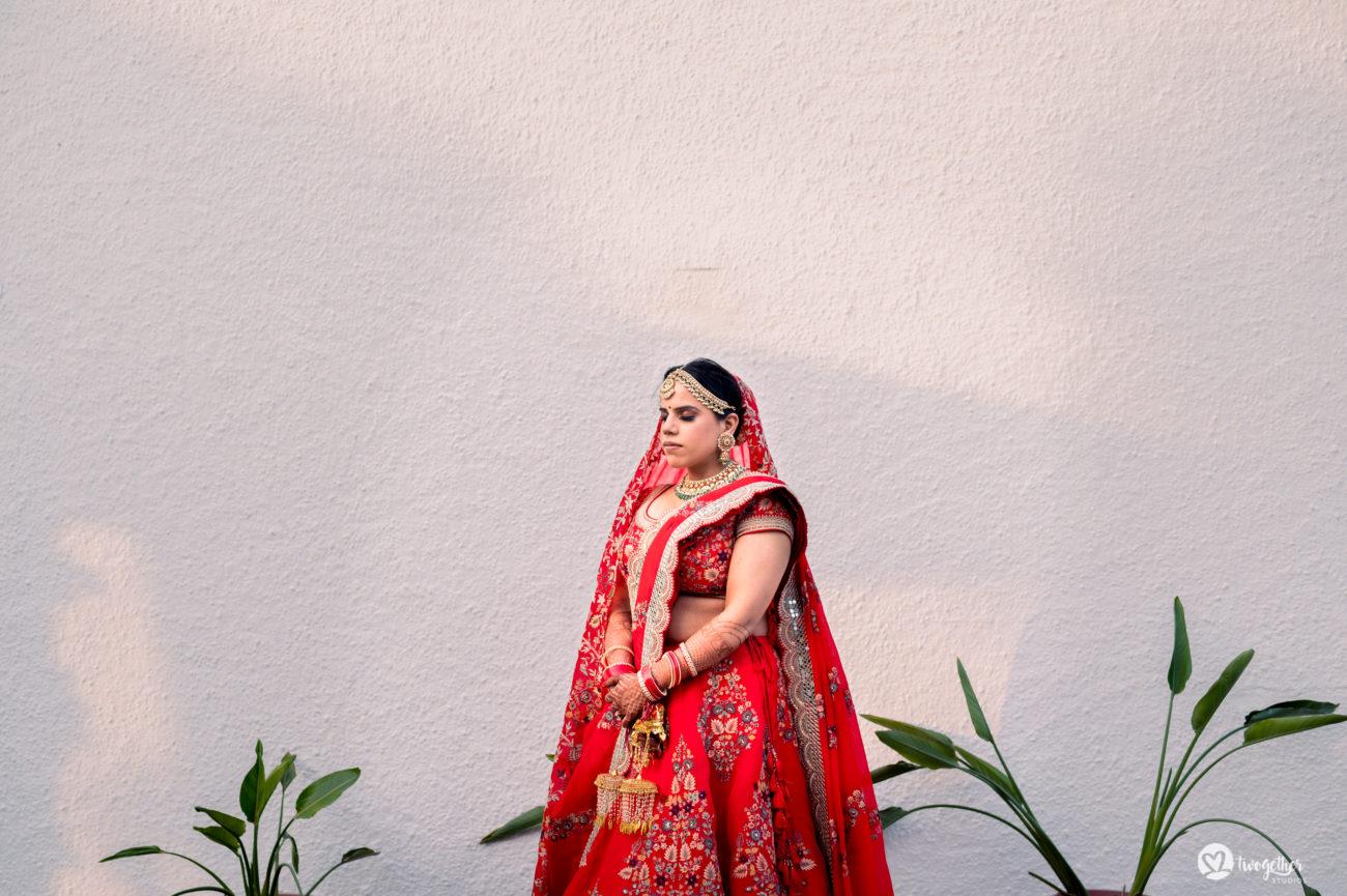 Bridal portrait in intimate wedding.
