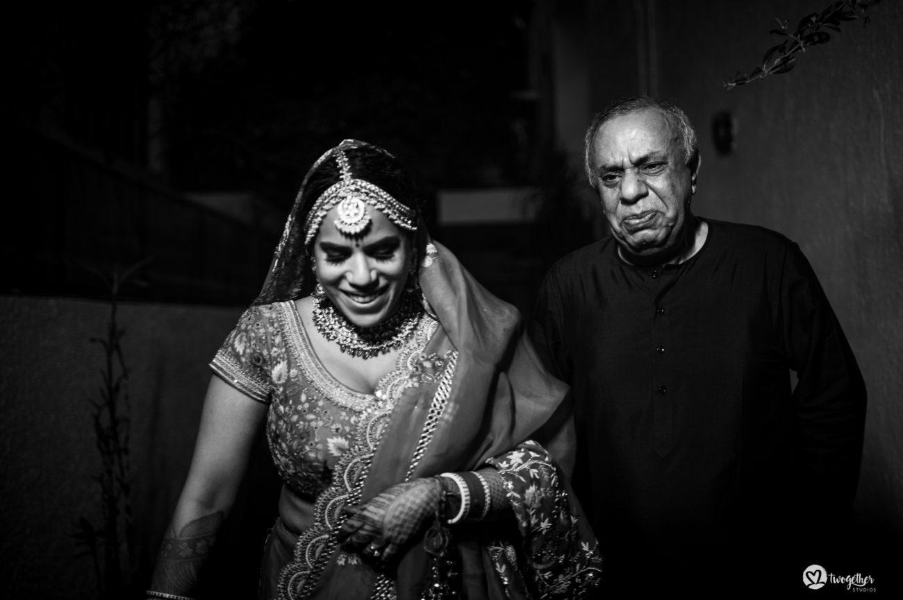 Bride vidaai in an intimate wedding.