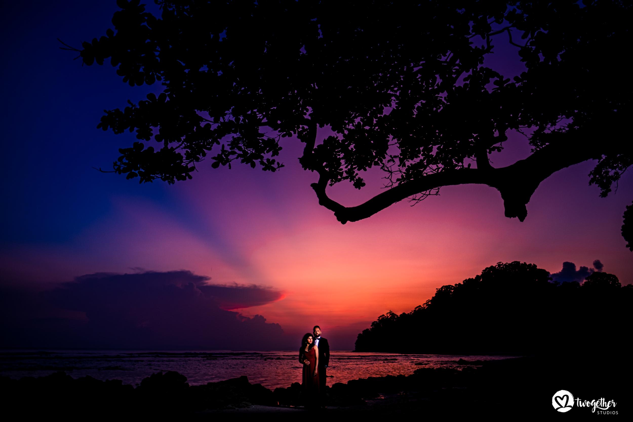 Andaman islands prewedding couple shoot at sunset.