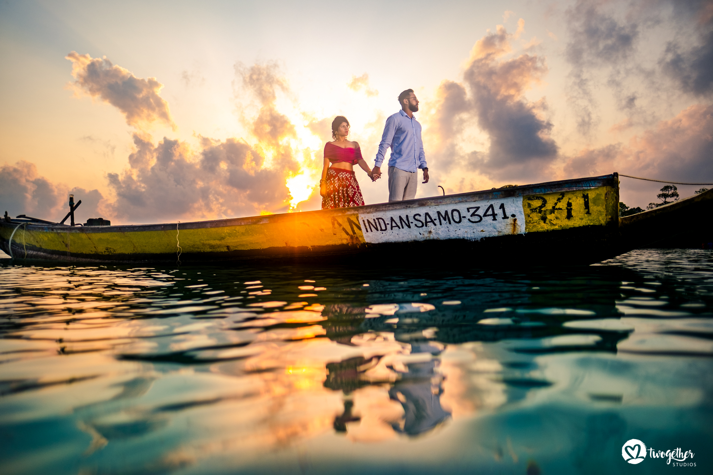 Andaman islands prewedding couple shoot on a boat.