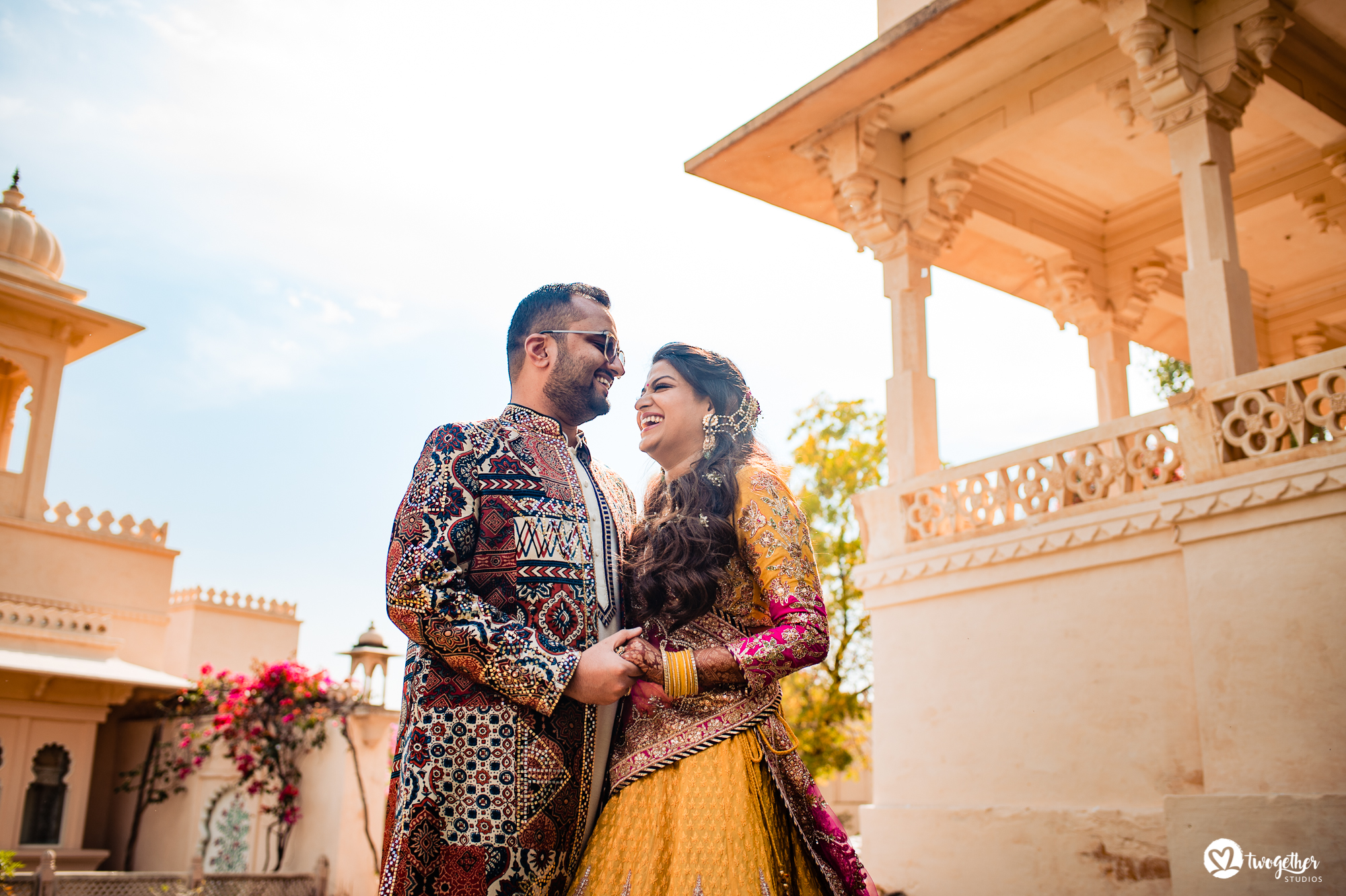 Couple portrait at Udaipur destination wedding in Udaivilas.