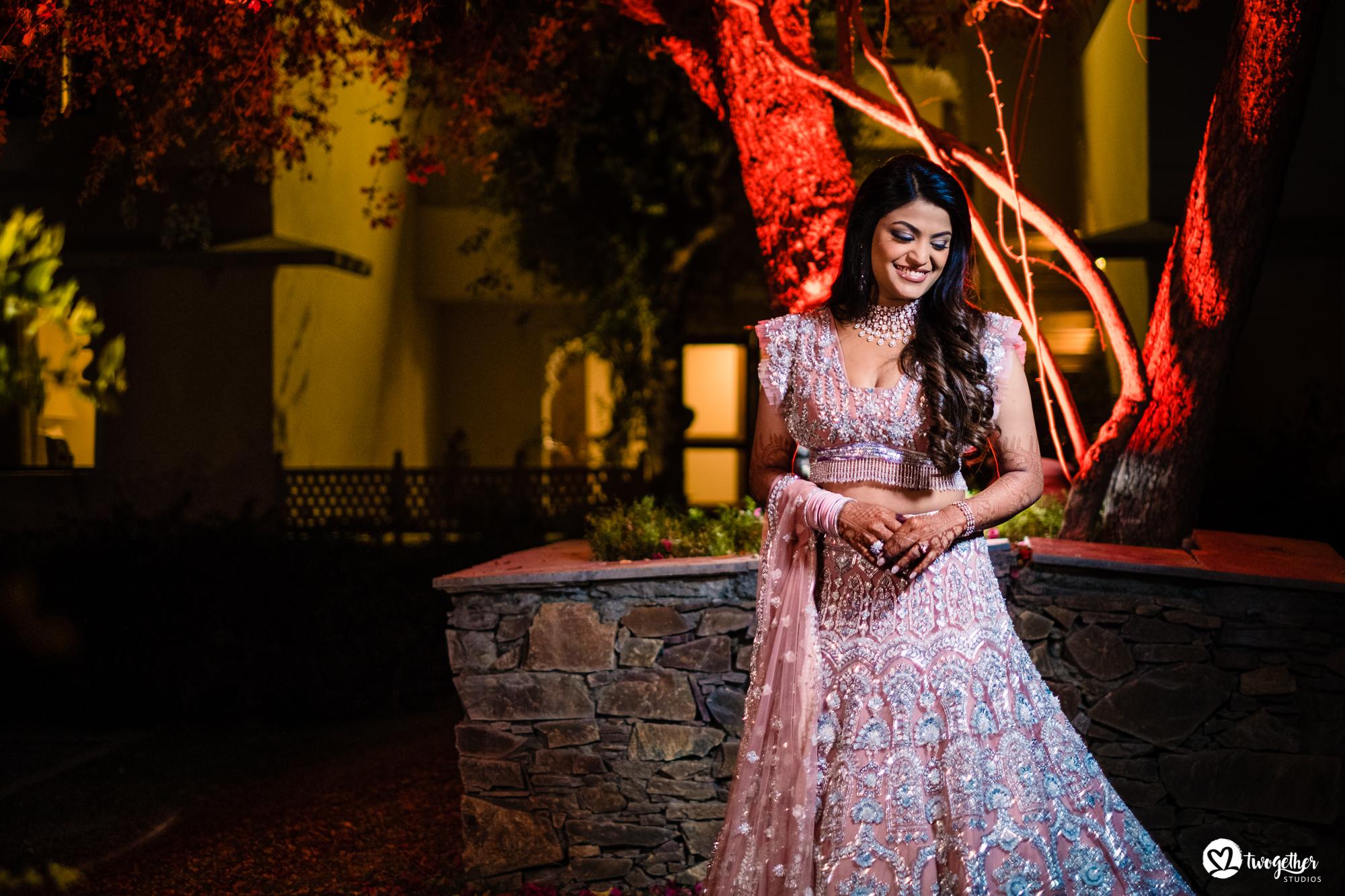 Bridal portrait at Udaipur destination wedding in Udaivilas.