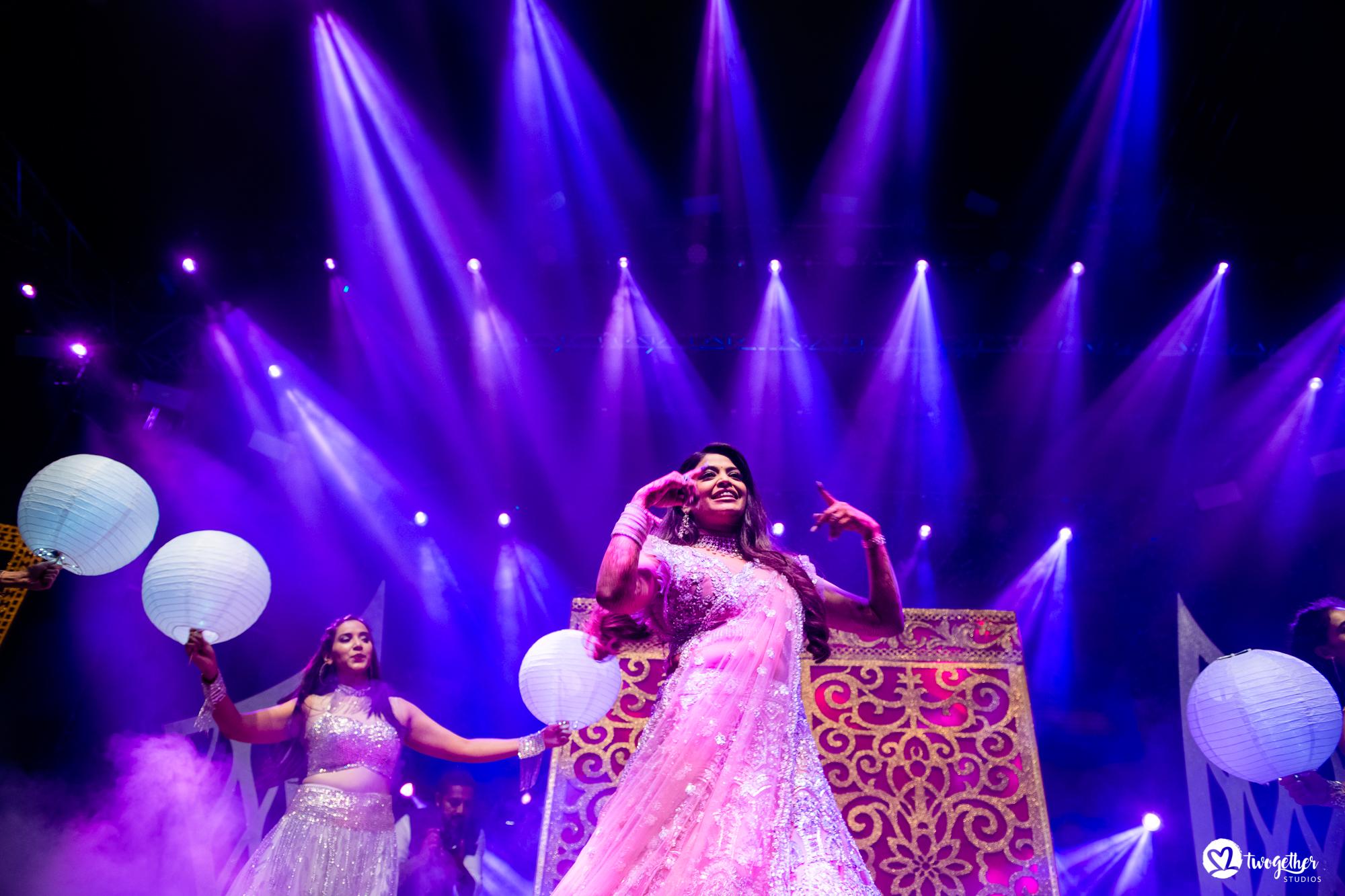 Sangeet bridal dance performance at Udaipur destination wedding in Udaivilas.