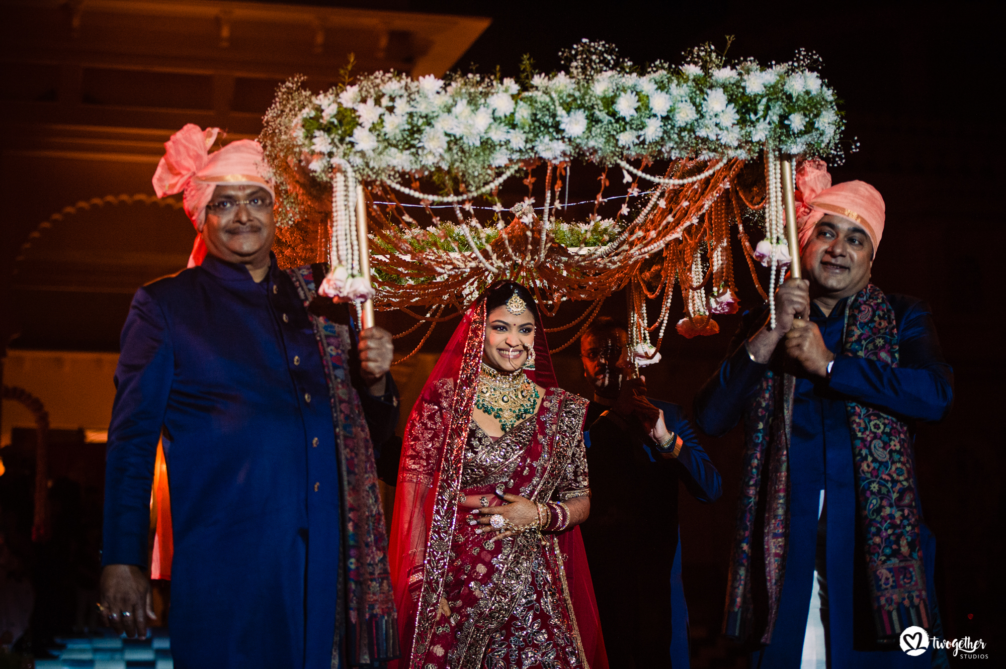 Bridal entry at Udaipur destination wedding in Udaivilas.