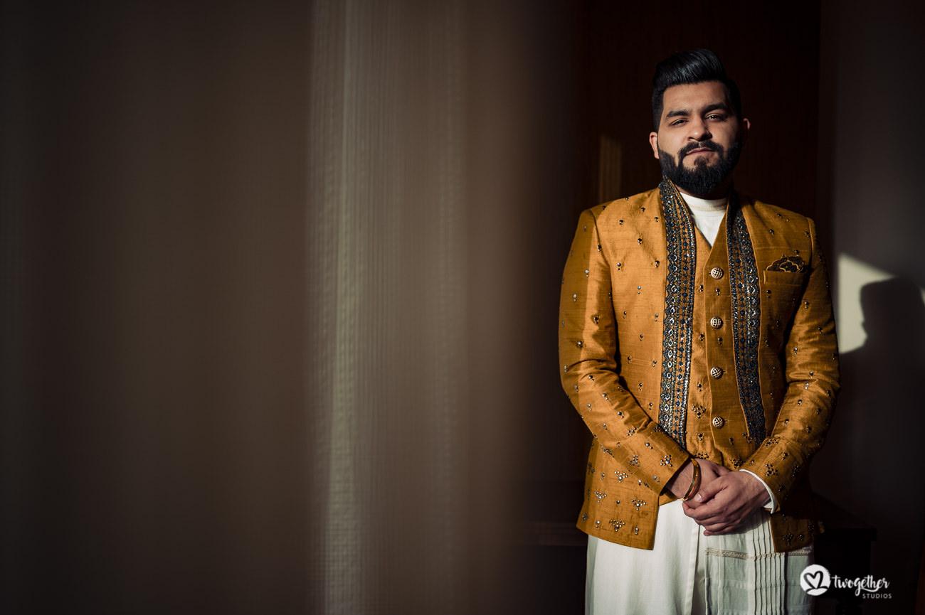 Indian groom in a Delhi wedding on his mehendi day.