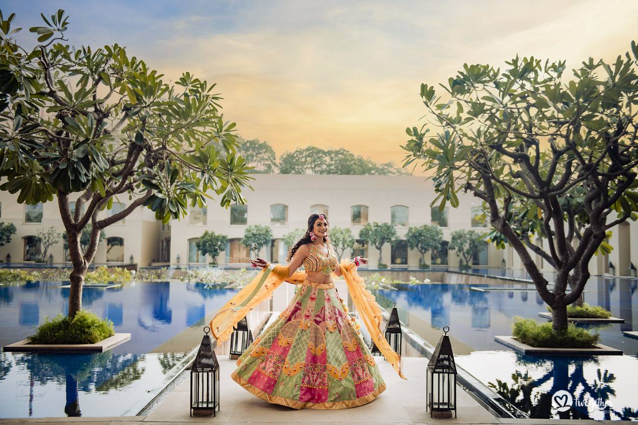 Indian bride in a Delhi wedding on her mehendi day.