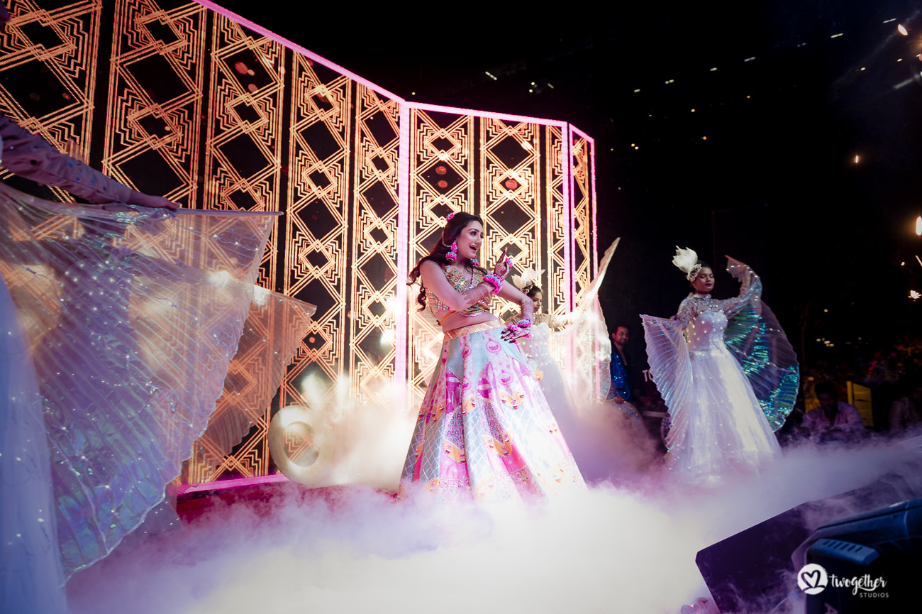Indian bride sangeet performance in a Delhi wedding.