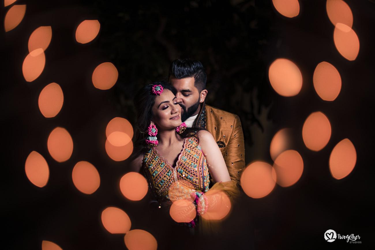 Indian couple portrait in a Delhi wedding.